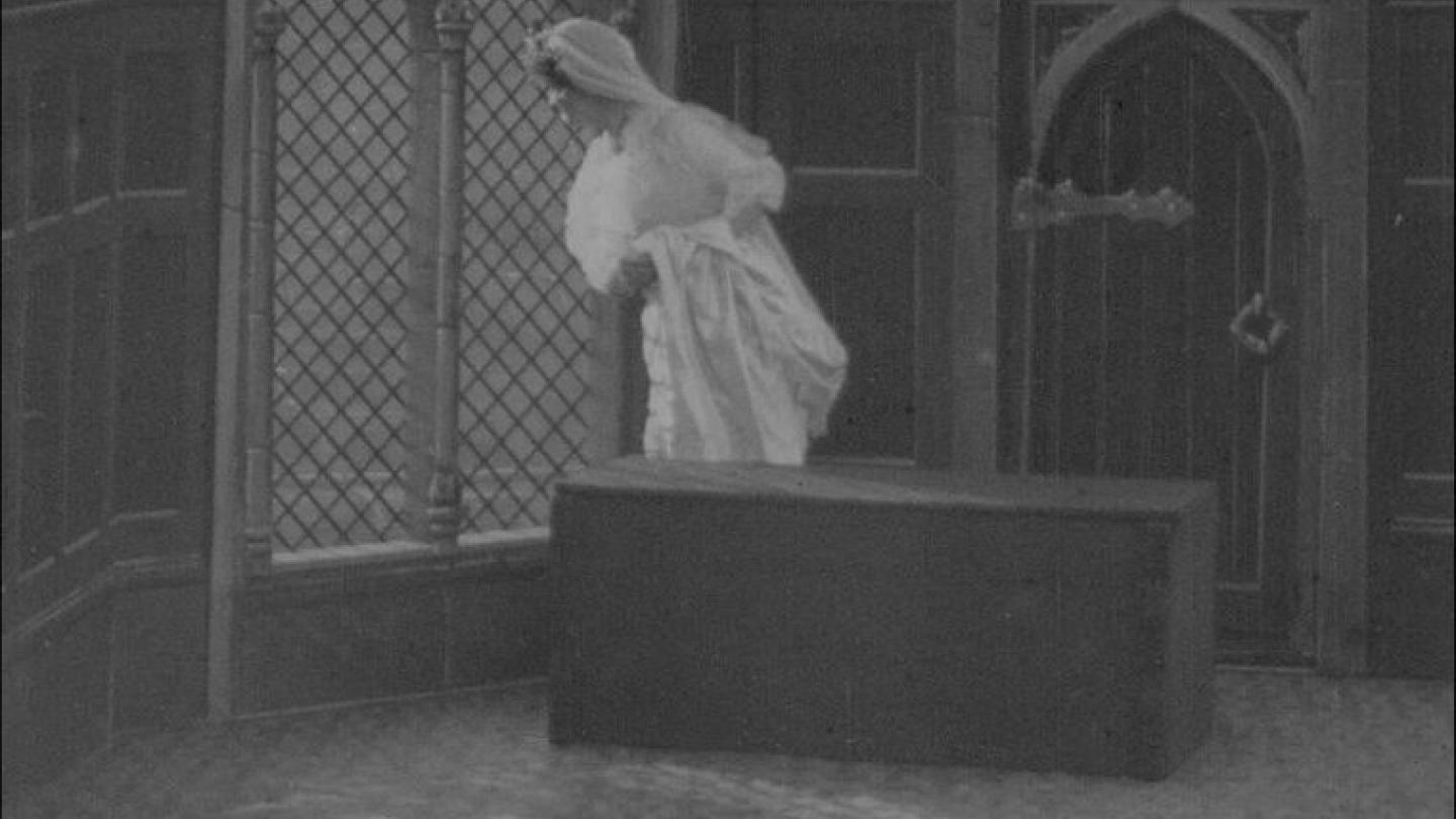 The Mistletoe Bough, still from Percy Stow's 1904 silent film; image copyright BFI.