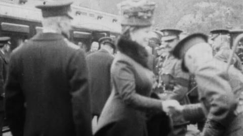 King George V and Queen Mary at a Railway Station