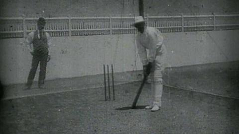 Prince Ranjitsinhji Practising Batting at the Nets