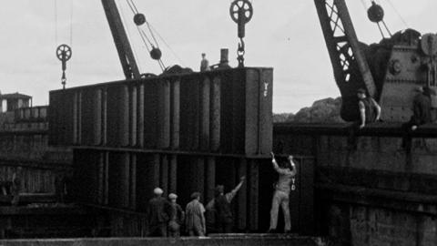 Unloading Girders at Skelton Bridge