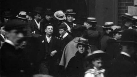 Workpeople and Girls Leaving Thos. Adams Factory, Nottingham (1900)