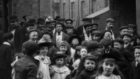 Employees Leaving Storey's Moor Lane Mill, Lancaster (1902)