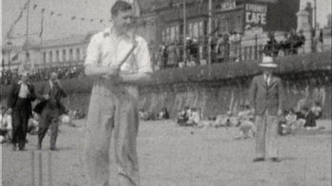 Playing Cricket on Blackpool Beach