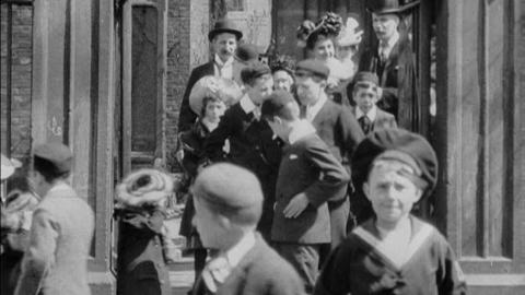 Congregation Leaving St James' Church, Hessle Road, Hull (1902)