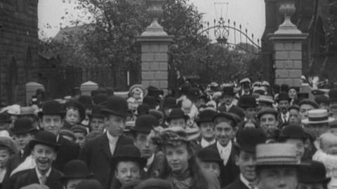 Congregation Leaving Warrington Parish Church (1902)