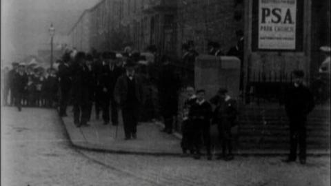 Crowds Leaving Park Congregational Church in Accrington (1902)