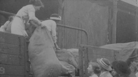 Women Unloading Railway Trucks