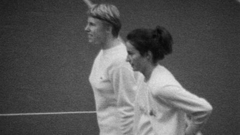 Virginia Wade v Ann Jones in Dewar Cup Tie