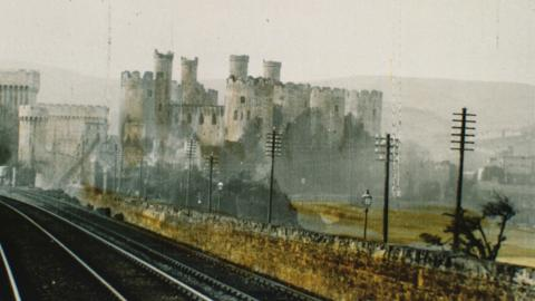 Conway Castle - panoramic view of Conway on the L.& N.W. Railway