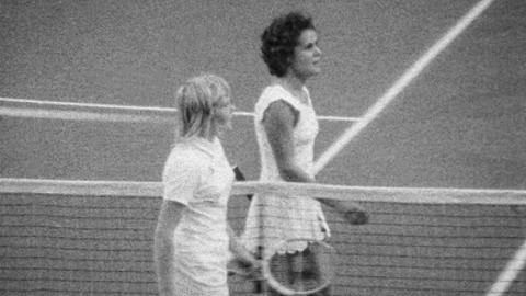 Sue Barker plays Evonne Goolagong