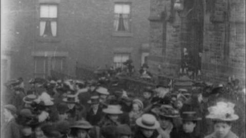 Congregation Leaving St Mary's Catholic Church, Blackburn (1903)