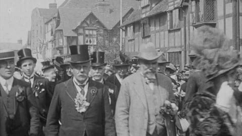 Memorial Procession in English Country Town