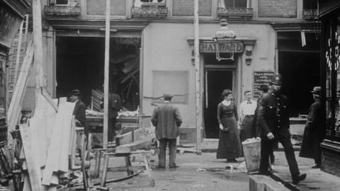 Ramsgate Zeppelin Raid. Showing Damage Done to the Bull and George Hotel.