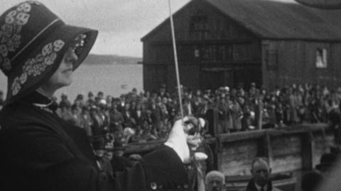 Launching of Genetta IV at Dickies Yard Bangor