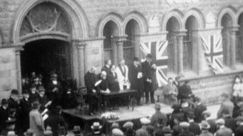 Unveiling of 1914-1918 War Roll of Honour at Holywell, c. 1919