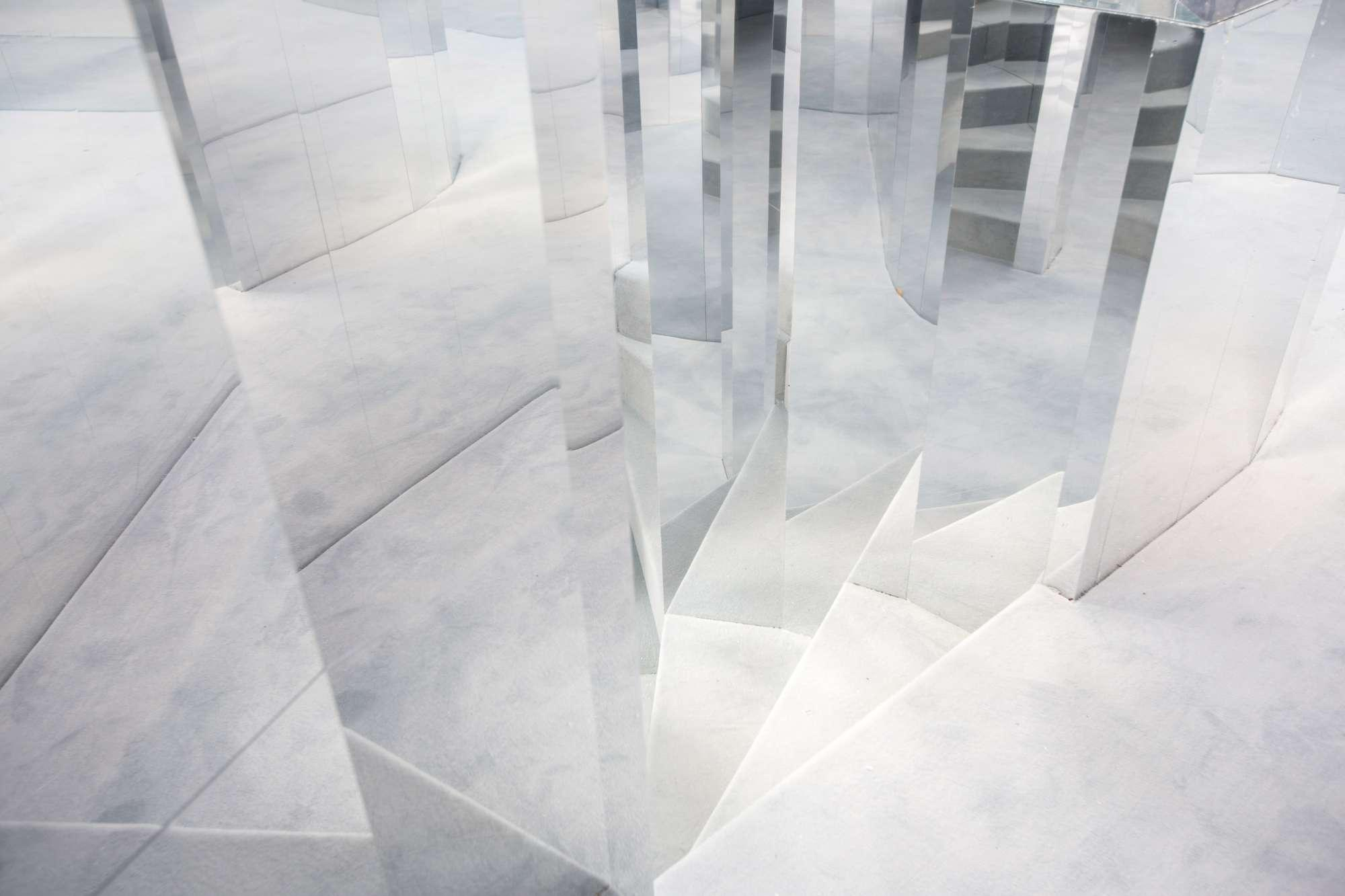 Es Devlin's Mirror Maze installation - mirrored staircase
