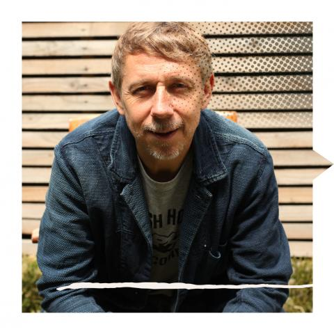 Gilles Peterson in Brownswood Recordings studio garden. N4, London